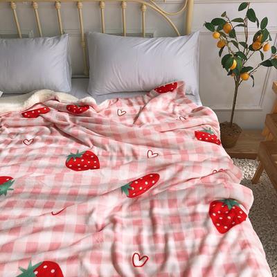 2019新款牛奶絨羊羔絨毯 1.5*2 格子草莓