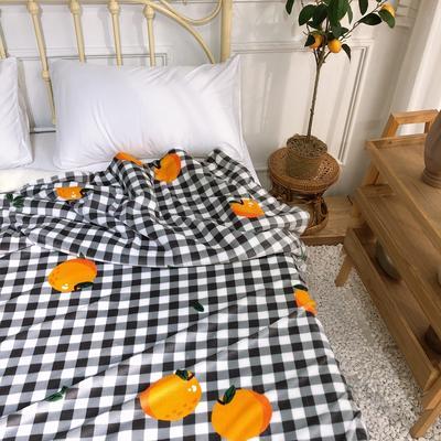 2019新款牛奶絨羊羔絨毯 1.5*2 格子橘子