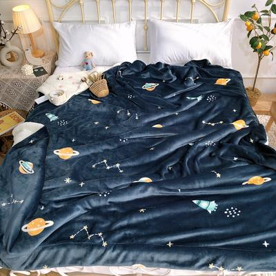 2019新款牛奶绒羊羔绒毯 1.5*2 宇宙星空