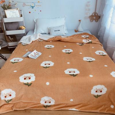 2020新款秋冬魔法牛奶绒羊羔毯 150*200cm 花朵羊