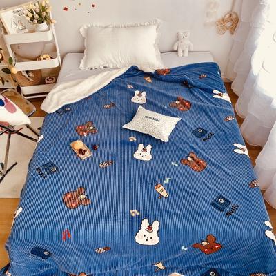 2020新款秋冬魔法牛奶绒羊羔毯 90*110cm 熊与兔子