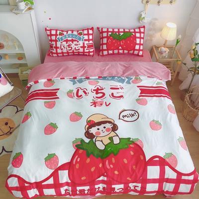 2020新款宝宝绒四件套套件 1.2m床单款三件套 草莓女孩