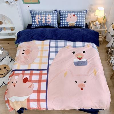 2020新款宝宝绒四件套套件 1.2m床单款三件套 格格小猪