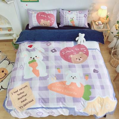2020新款宝宝绒四件套套件 1.2m床单款三件套 萝卜兔子