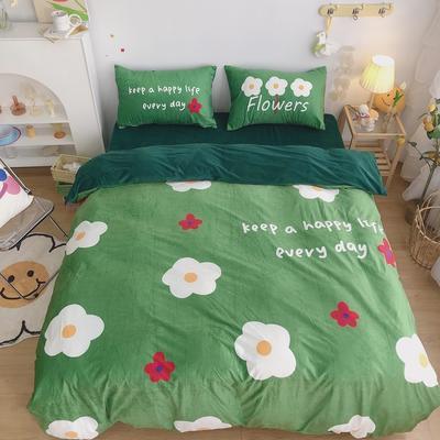 2020新款宝宝绒四件套套件 1.2m床单款三件套 绿色小花