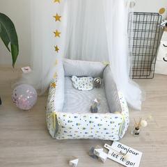 2018新款-婴童用品 婴儿便携式床中床两件套 155*120cm 冰激凌 蓝