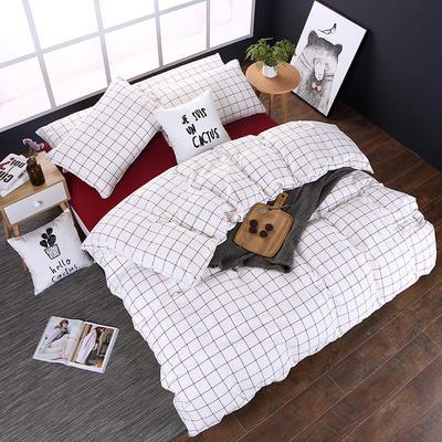 全棉色织水洗棉四件套 花边款 1.8m床 床笠款(被套加大) 初春格(花边)