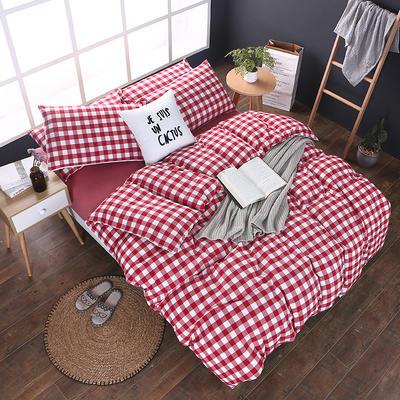 全棉色织水洗棉四件套 花边款 1.8m床 床笠款(被套加大) 大红三分格(花边)