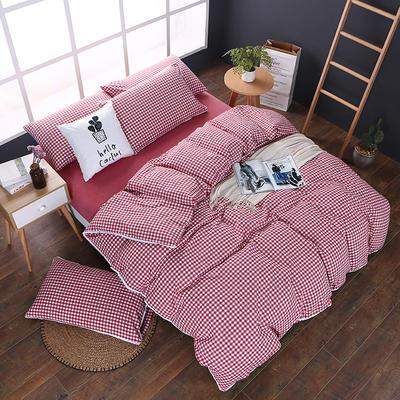 全棉色织水洗棉四件套 花边款 1.8m床 床笠款(被套加大) 大红小格(花边)
