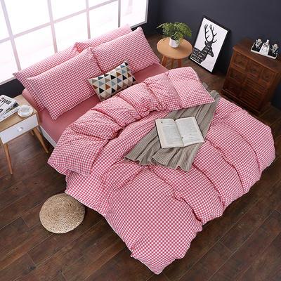 全棉色织水洗棉四件套 花边款 1.8m床 床笠款(被套加大) 粉红小格(花边)
