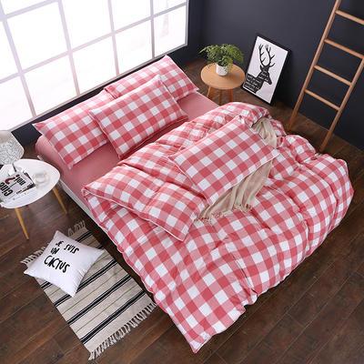 全棉色织水洗棉四件套 花边款 1.8m床 床笠款(被套加大) 粉红中格(花边)