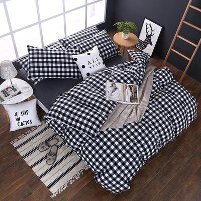 全棉色织水洗棉四件套 花边款 1.8m床 床笠款(被套加大) 黑白三分格(花边)