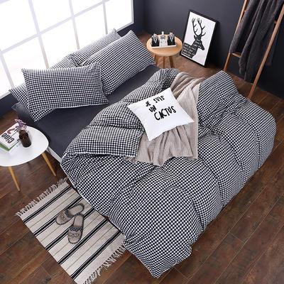 全棉色织水洗棉四件套 花边款 1.8m床 床笠款(被套加大) 黑白小格(花边)