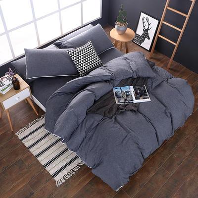 全棉色织水洗棉四件套 花边款 1.8m床 床笠款(被套加大) 冷灰色(花边)