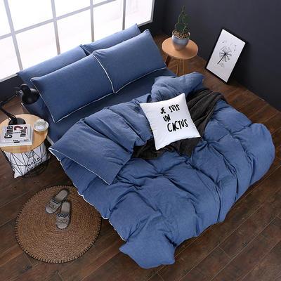全棉色织水洗棉四件套 花边款 1.8m床 床笠款(被套加大) 牛仔蓝(花边)