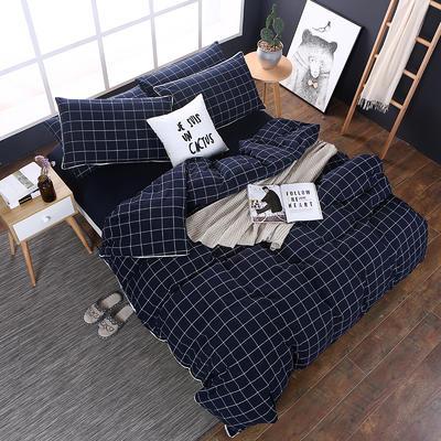 全棉色织水洗棉四件套 花边款 1.8m床 床笠款(被套加大) 暖冬格(花边)