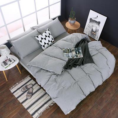 全棉色织水洗棉四件套 花边款 1.8m床 床笠款(被套加大) 浅灰色(花边)