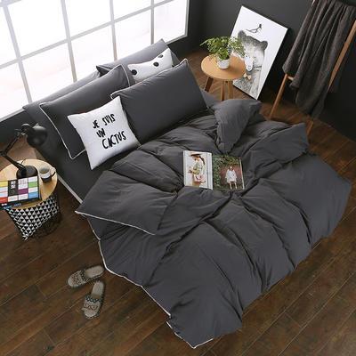 全棉色织水洗棉四件套 花边款 1.8m床 床笠款(被套加大) 深灰色(花边)