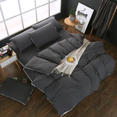 全棉色织水洗棉四件套 花边款 1.8m床 床笠款(被套加大) 深灰小格(花边)