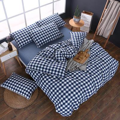 全棉色织水洗棉四件套 花边款 1.8m床 床笠款(被套加大) 深蓝三分格(花边)