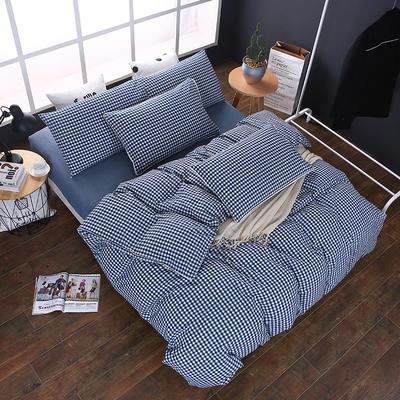 全棉色织水洗棉四件套 花边款 1.8m床 床笠款(被套加大) 深蓝小格(花边)