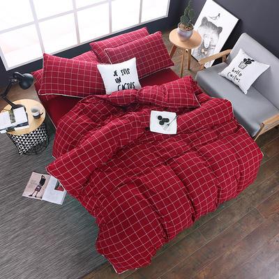 全棉色织水洗棉四件套 花边款 1.8m床 床笠款(被套加大) 盛夏格(花边)