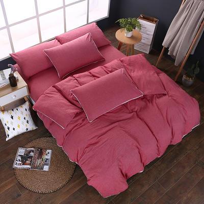 全棉色织水洗棉四件套 花边款 1.8m床 床笠款(被套加大) 一片红(花边)