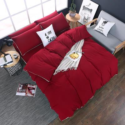 全棉色织水洗棉四件套 花边款 1.8m床 床笠款(被套加大) 中国红(花边)