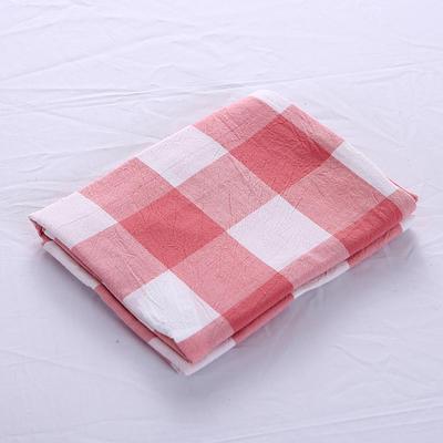 全棉水洗棉四件套单品枕套 普通款 74*48/只 粉红中格
