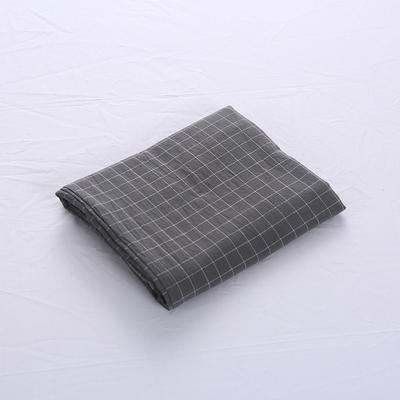 全棉水洗棉四件套单品枕套 普通款 74*48/只 深灰小格