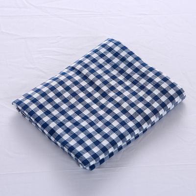 全棉水洗棉四件套单品枕套 普通款 74*48/只 深蓝小格