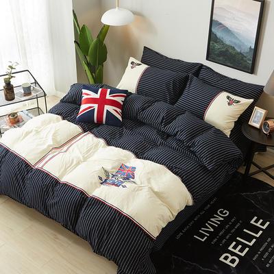 32支全棉水洗棉系列四件套 标准(1.5m-1.8m床) 英伦时尚-深蓝