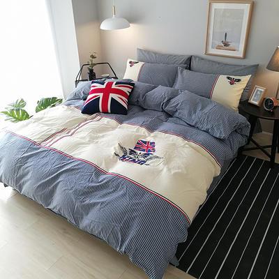 32支全棉水洗棉系列四件套 标准(1.5m-1.8m床) 英伦时尚-牛仔蓝