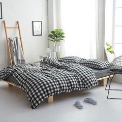 2018新款全棉色织水洗棉四件套 2.0床笠款 黑白三分格