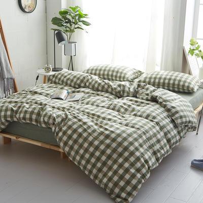 2018新款 全棉色织水洗棉单品床单 160*240 草绿三分格