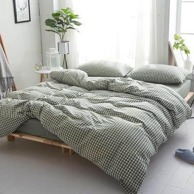 2018新款 全棉色织水洗棉单品床单 160*240 草绿小格