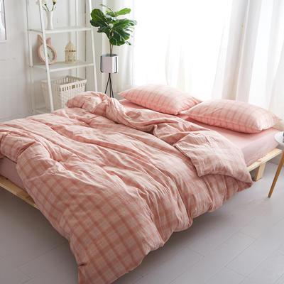 2018新款 全棉色织水洗棉单品床单 160*240 橙玉格纹