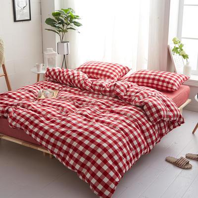 2018新款 全棉色织水洗棉单品床单 160*240 大红三分格