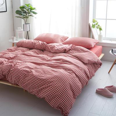 2018新款 全棉色织水洗棉单品床单 160*240 大红小格