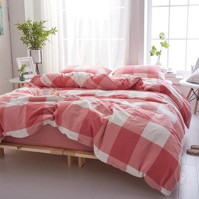 2018新款 全棉色织水洗棉单品床单 160*240 粉红大格