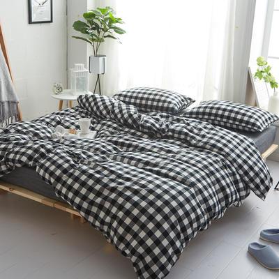 2018新款 全棉色织水洗棉单品床单 160*240 黑白三分格