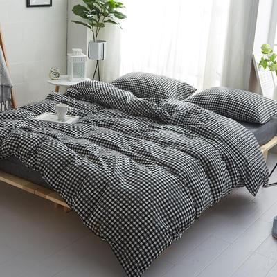 2018新款 全棉色织水洗棉单品床单 160*240 黑白小格