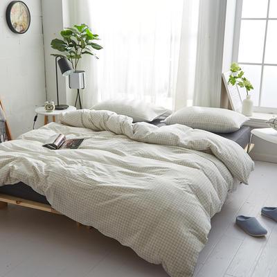 2018新款 全棉色织水洗棉单品床单 160*240 灰白小格