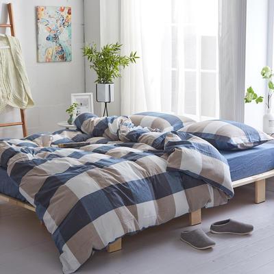 2018新款 全棉色织水洗棉单品床单 160*240 蓝白大格