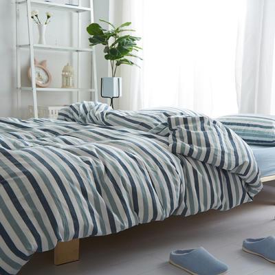 2018新款 全棉色织水洗棉单品床单 160*240 蓝白条纹
