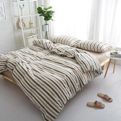 2018新款 全棉色织水洗棉单品床单 160*240 米咖条纹