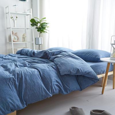2018新款 全棉色织水洗棉单品床单 160*240 牛仔蓝