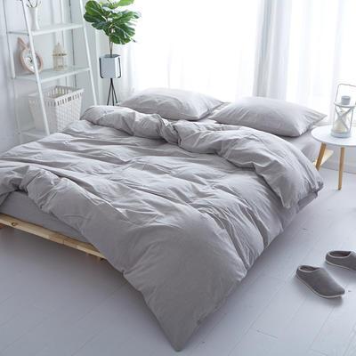 2018新款 全棉色织水洗棉单品床单 160*240 浅灰色