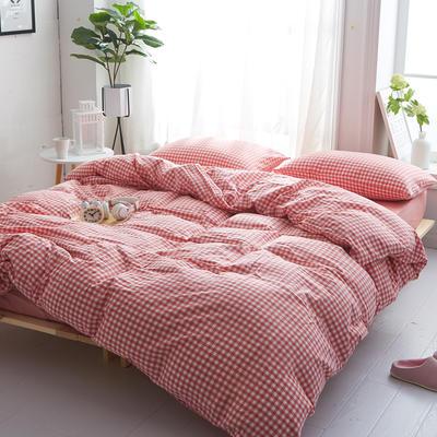2018新款 全棉色织水洗棉单品床单 160*240 粉红小格