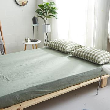 2018新款 全棉色织水洗棉单品床笠 120*200+25 草绿三分格